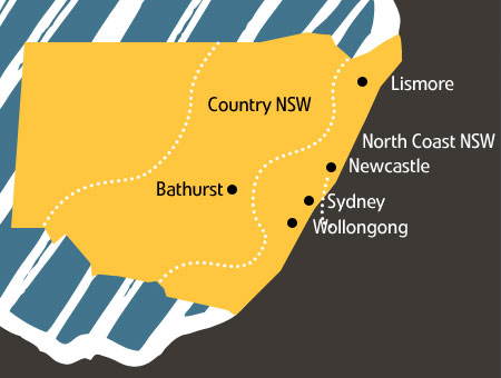 Map of NSW showing locations including Bathurst in Country NSW, Lismore in North Coast NSW and coastal cities Wollonggong, Sydney and Newcastle.