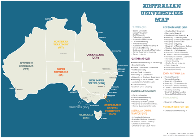 Map showing university campuses located across major Australian locations.
