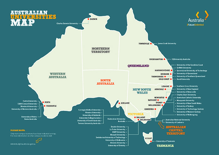Map graphic showing the location the main campuses of Australian Universities. Text description of Map below.