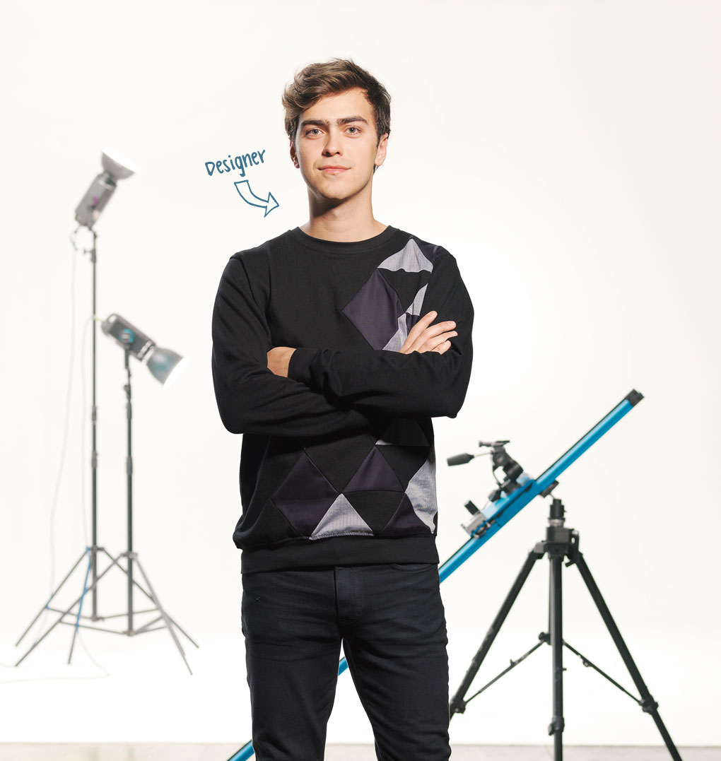 Photo of young man, profession indicated as Designer