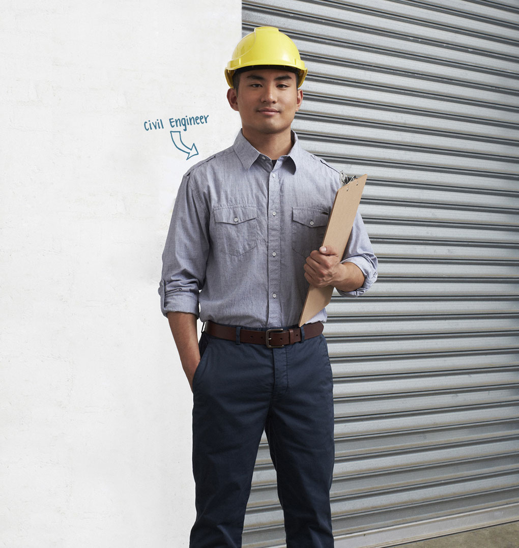 Photo of young man, profession indicated as Civil Engineer