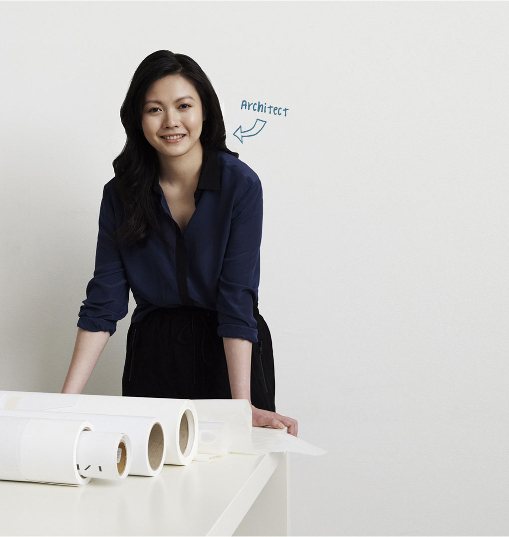 Photo of young woman, profession indicated as Architect
