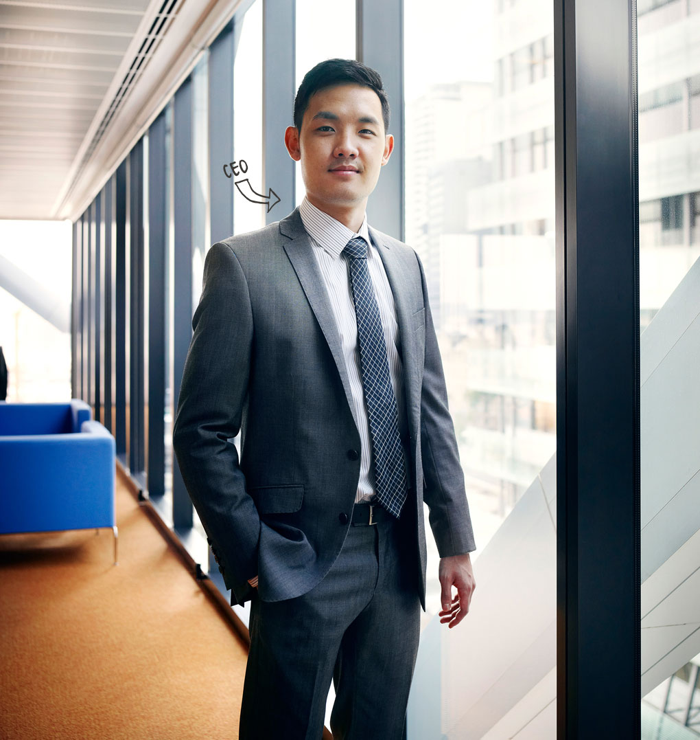 Photo of young man, profession indicated as CEO