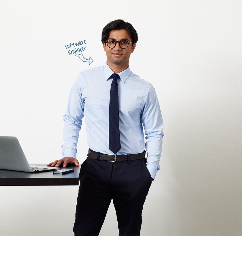 Photo of young man, profession indicated as Software Engineer