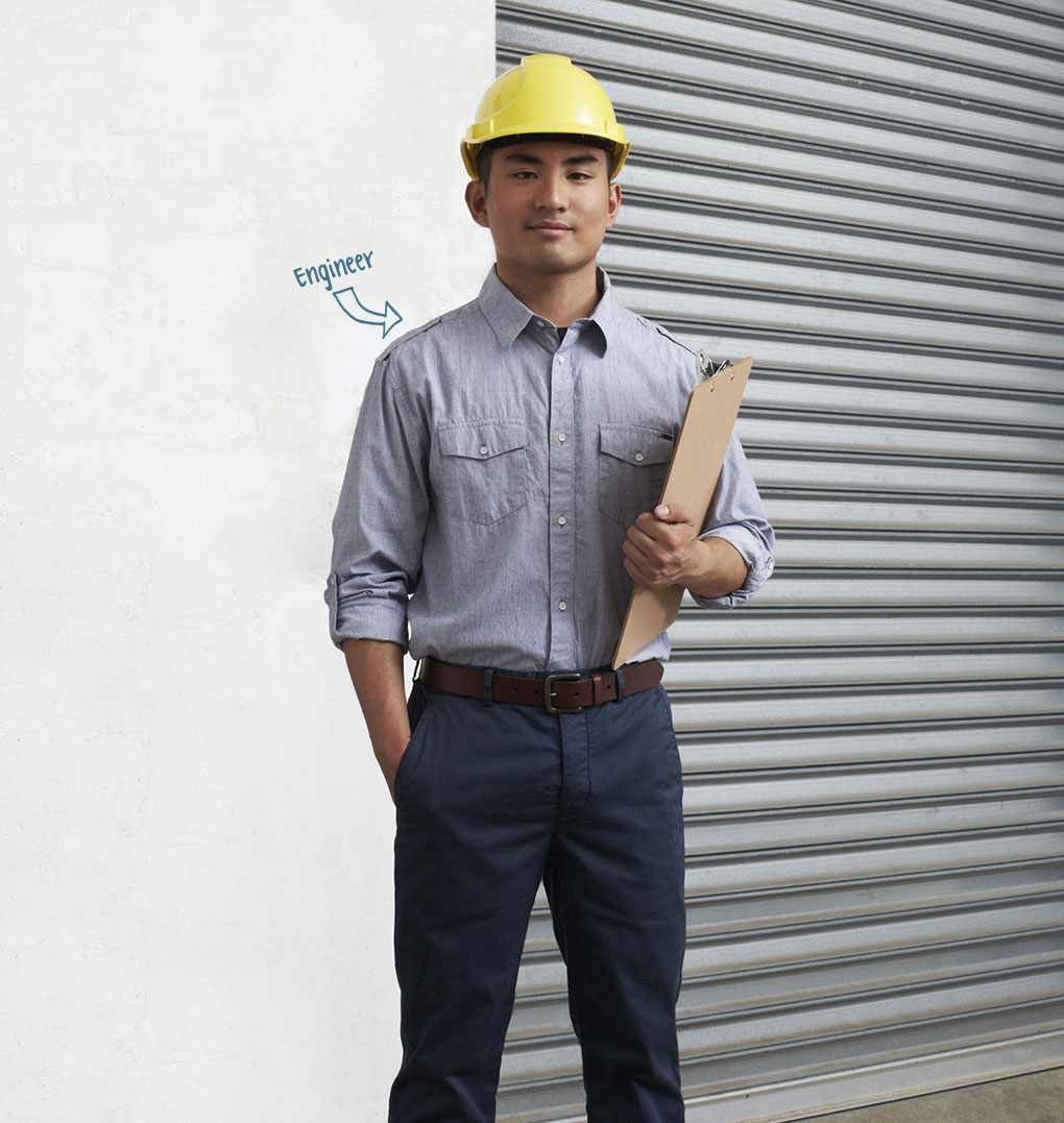 Photo of young man, profession indicated as Engineer